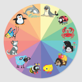 cartoon animals for kids classic round sticker