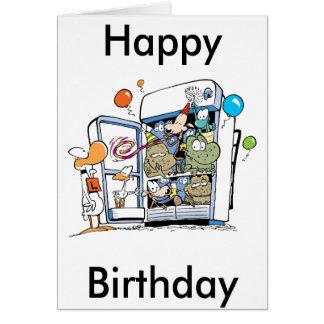 Cartoon Animals Happy Birthday Card