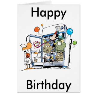 Cartoon Animals Happy Birthday Greeting Card
