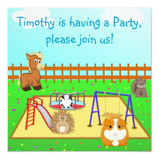 """Cartoon Animals in the Playground Children's Party 5.25"""" Square Invitation Card"""