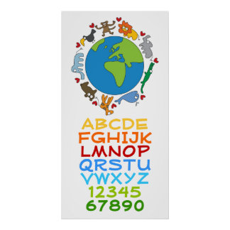 Cartoon Animals Of The World Alphabet Numbers Kids Poster