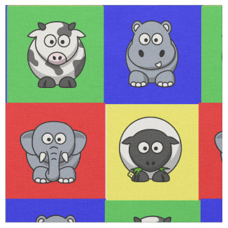 Cartoon Animals on Bright Backgrounds Fabric