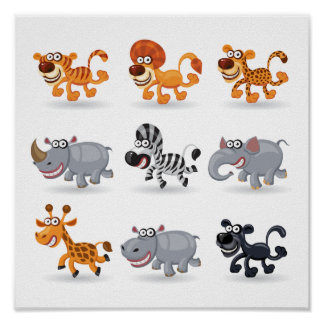 Cartoon animals set 1 posters