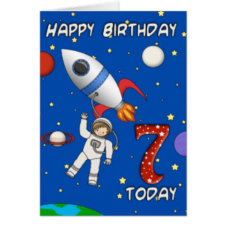 Cartoon Astronaut Children's 7th Birthday Card