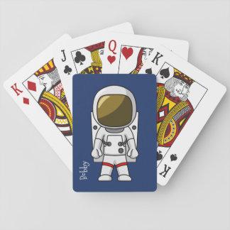 Cartoon Astronaut Playing Cards