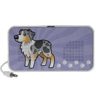 Cartoon Australian Shepherd Laptop Speaker