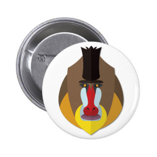 Cartoon Baboon Head 6 Cm Round Badge