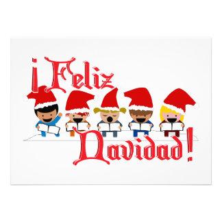 Cartoon Baby Carolers - Feliz Navidad Personalized Announcement