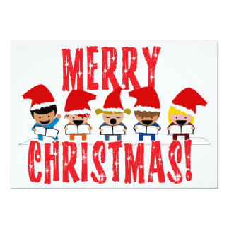 Cartoon Baby Carolers - Merry Christmas Personalized Invitations