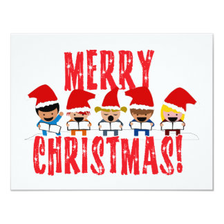 Cartoon Baby Carolers - Merry Christmas 11 Cm X 14 Cm Invitation Card