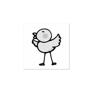 cartoon baby chick rubber stamp