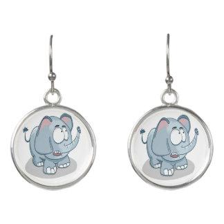 Cartoon baby elephant looking into the sky earrings