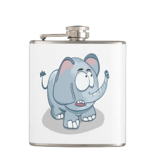 Cartoon baby elephant looking into the sky hip flask