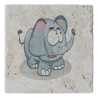 Cartoon baby elephant looking into the sky trivet
