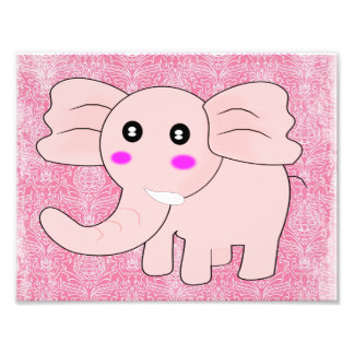 Cartoon Baby Elephant On Pink on Damask Photographic Print