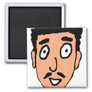 Cartoon Bad Pick up Line Slimy Moustache Guy Fridge Magnets