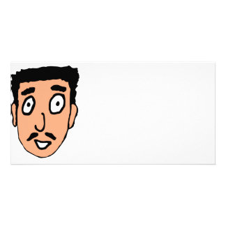 Cartoon Bad Pick up Line Slimy Moustache Guy Photo Card Template