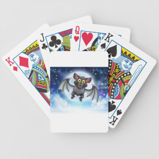 Cartoon Bat and Full Moon Halloween Scene Bicycle Playing Cards