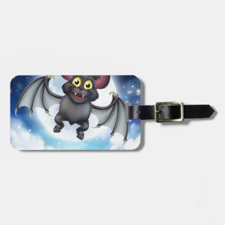 Cartoon Bat and Full Moon Halloween Scene Luggage Tag