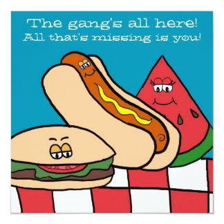 Cartoon BBQ Food Party Invitations