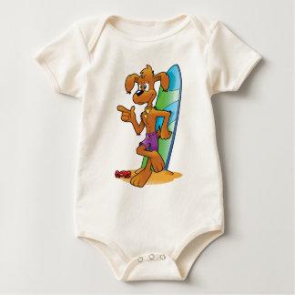 cartoon beach dog baby bodysuit