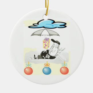 CARTOON **BEACH GREETING** CHRISTMAS ORNAMENT