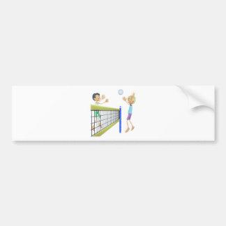 Cartoon Beach Volleyball Players Bumper Sticker