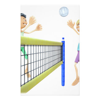 Cartoon Beach Volleyball Players Stationery