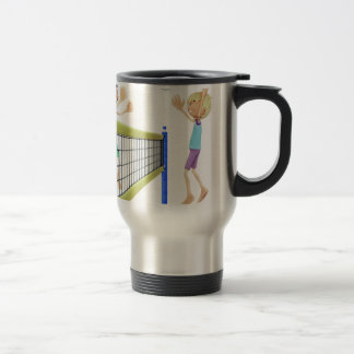 Cartoon Beach Volleyball Players Travel Mug