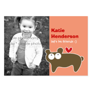 Cartoon Bear Kids Custom Photo Playdate Card Business Card Templates