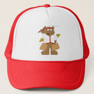 Cartoon Bear Slicing Pepperoni Pizza Trucker Hat