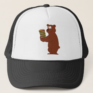 Cartoon Bear With Huge Hamburger Trucker Hat
