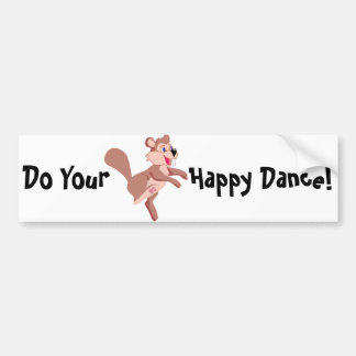 Cartoon Beaver Doing A Happy Dance Bumper Sticker