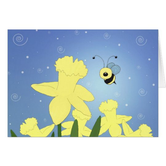 Cartoon Bee And Daffodils Card