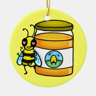 Cartoon bee leaning on honey jar ceramic ornament
