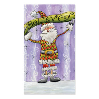 Cartoon Believe in Santa Claus! Merry Christmas! Business Card Template