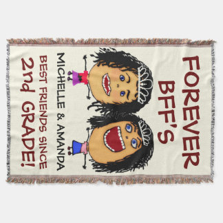 Cartoon Best Friend BFFs Throw Blanket