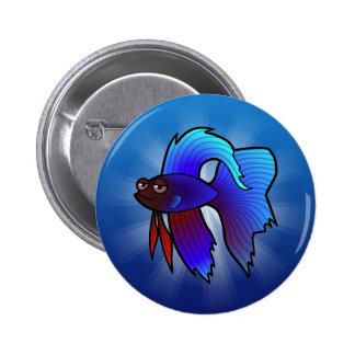 Cartoon Betta Fish / Siamese Fighting Fish 6 Cm Round Badge