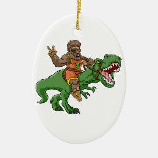 cartoon bigfoot-cartoon t rex-T rex bigfoot Ceramic Ornament