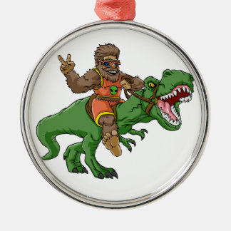cartoon bigfoot-cartoon t rex-T rex bigfoot Metal Ornament