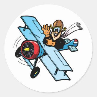 Cartoon Biplane Classic Round Sticker