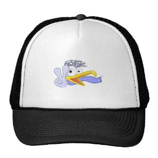 Cartoon Bird Flashing the Peace Sign Cap