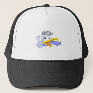 Cartoon Bird Flashing the Peace Sign Trucker Hat