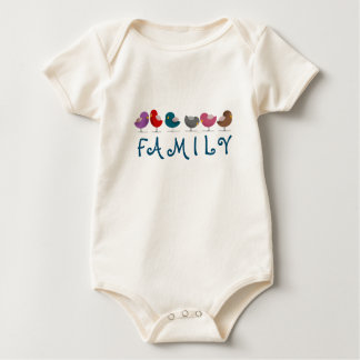 Cartoon Birds Colorful Cheerful Bright Family Cute Baby Bodysuit