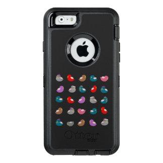 Cartoon Birds Colorful Pattern Black Background OtterBox Defender iPhone Case