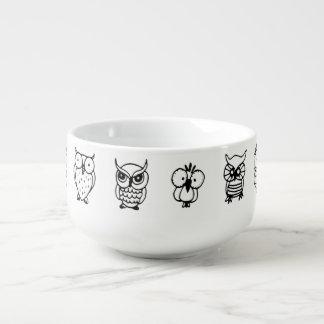cartoon black and white owls soup mug