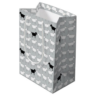 Cartoon black and white sheep mono gift bag