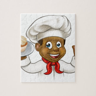 Cartoon Black Baker or Pastry Chef Puzzles