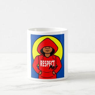 Cartoon Black Boy in Red Hoodie Basic White Mug