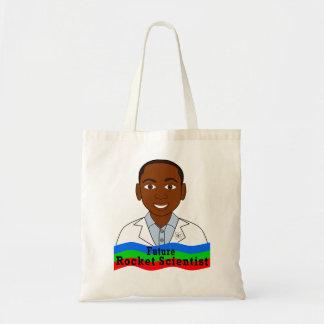 Cartoon Black Boy Rocket Scientist Tote Bag